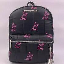 Betsey Johnson Black & Neon Pink French Bulldog Nylon Backpack Bag Nwt Frenchie Photo
