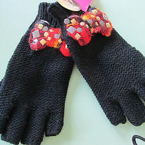 Betsey Johnson--Black Plaid Bow Stud--Texting--Fingerless Gloves--O/s-New W/tags Photo