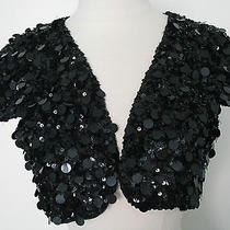 Betsey Johnson Black Sequined Shug Bolero Jacket Size S Photo