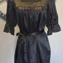 Betsey Johnson Black Silk Baby Doll Dress Sz 10   Photo