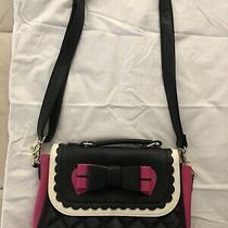 Betsey Johnson Black White Pink Bow Crossbody Purse Bag Chic Beautiful Photo