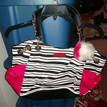 Betsey Johnson Black White Pink Women's Striped Shoulder Handbag Free Shipping Photo