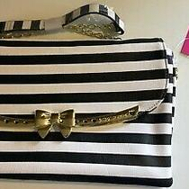 Betsey Johnson Black White Stripe Gold Purse Bag - Nwt Photo