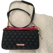 Betsey Johnson Black With Pink Bow Shoulder Bag/wallet Photo