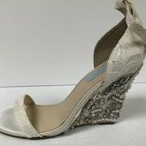 Betsey Johnson Blue Alisa Ivory Womens Wedge Sandal Heel Size 10m. Photo