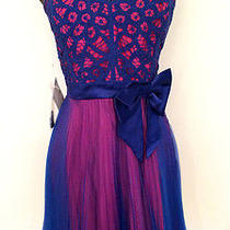 Betsey Johnson Blue & Pink Magenta Party With Bow Dress Nwt 12 Corset Straps Photo