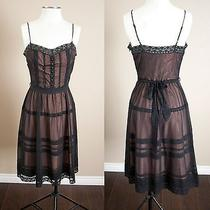 Betsey Johnson Blush and Black Overlay Lace Evening Dress  Size 6 Photo