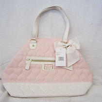 Betsey Johnson Blush/bone Quilted Heart Convertible Tote Br22390 New Photo