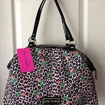 Betsey Johnson Blush Leopard and Rose Print Satchel Nwt Photo