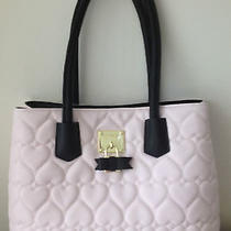 Betsey Johnson Blush Pink Black Tote Satchel Handbag Quilted Hearts Bow Lock New Photo