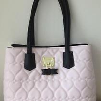 Betsey Johnson Blush Pink Black Tote Satchel Handbag Quilted Hearts Bow Lock New Photo