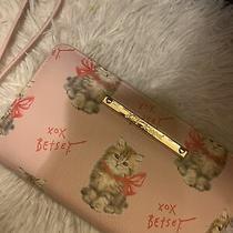 Betsey Johnson Blush Pink Cat Kitten Bar Logo Zip Around Wallet/wristlet Nwt Photo