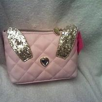 Betsey Johnson Blush Pink Disco Bunny Cosmetic/clutch Bag 58 Retail  Photo