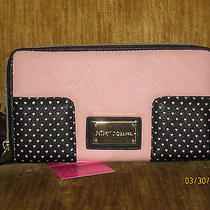 Betsey Johnson Blush Pink Perforated Corner Zip Clutch Wallet Nwt Photo