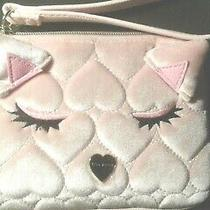 Betsey Johnson Blush Pink Quilted Sleeping Kitty Velvet Wristlet-New With Tags Photo