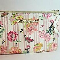 Betsey Johnson Blush Pink Stripes Floral Bee Butterfly Crossbody Bag Purse W/fob Photo