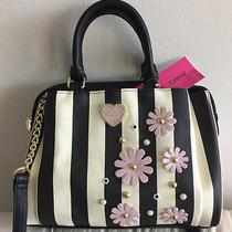 Betsey Johnson Blush Stripe Black White Dome Satchel Be Mine Handbag in Bloom  Photo