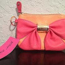 Betsey Johnson Bow Nanza Spike Orange Pink Gold Wristlet Small Bag Msrp 58 A13 Photo