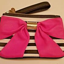 Betsey Johnson Bow Nanza Wristlet Clutch Purse Pink Bow Black White Stripes Photo