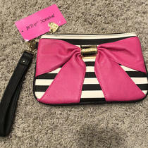 Betsey Johnson Bownanza Wristlet Black & White Stripe With Pink Bow Nwt Photo