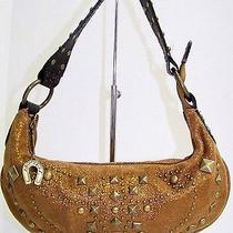 Betsey Johnson Bronze Metallic Leather Studded Small Hobo Bag Photo