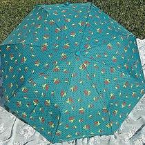 Betsey Johnson Bubblegum Cherry Dot Umbrella Teal Blue New W/tags Compact Auto Photo