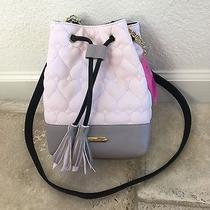 Betsey Johnson Bucket Xb Bag Purse Crossbody Quilted Blush Pink Gray Black Nwt Photo
