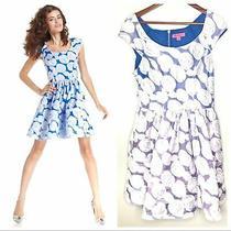 Betsey Johnson Cap Sleeve Floral Rose Print Dress Blue Purple Lined Size 10 Photo