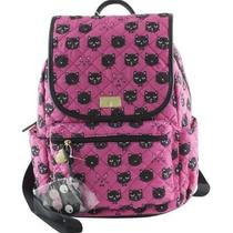 Betsey Johnson Cat Face Quilted Backpack Book Bag Shoulder Purse Tote Pink Black Photo