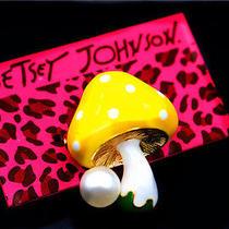 Betsey Johnson Charm Enamel Pearl Mushroom Cute Fashion Jewelry Brooch Pin Photo