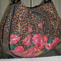 Betsey Johnson Cheetah Sequins Glamour Girl Hobo Tote Shoulder Bag Nwt Photo