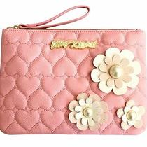 Betsey Johnson Clutch Bag Pouch Pink Blush Quilted Hearts 3d Flower Wristlet Photo