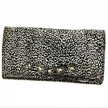Betsey Johnson Clutch Cheetah Print Fabric Christmas Holiday Black Gold 14x 7 Photo