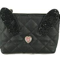 Betsey Johnson Clutch Purse Black Diamond Quilted Zip Top Heart Decoration Photo
