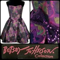 Betsey Johnson Cocktail Dress Fit N Flair Purple Tulle Size 8 Party Msrp 398 Photo