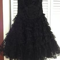 Betsey Johnson Collection Black Chiffon Strapless Dress Photo