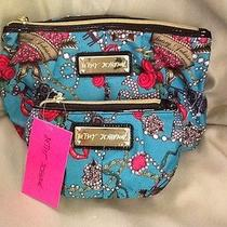 Betsey Johnson Cosmetic Makeup Bags  (2)  Jewelry Lips & Roses Print Photo