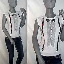 Betsey Johnson Cotton Black/white Crew Punk Graphic Top Tee Tuxedo Sleeveless M  Photo