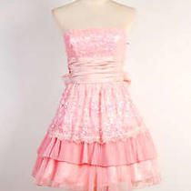 Betsey Johnson Cotton Tape on Woven Lace Strapless Dress Size 6 Blush Photo