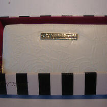 Betsey Johnson Cream/floral Embossed Design  Zip Around Wallet/wristlet Nwt  Photo