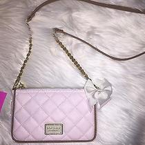 Betsey Johnson Crossbody 100% Genuine Textured Leather Color Blush Photo