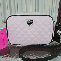 Betsey Johnson Crossbody Camera Bag Diamond Quilt Blush Pink Bone Nwt Photo