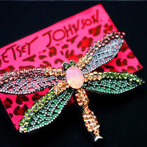 Betsey Johnson Cute Beautiful Jewelry Multicolor Crystal Dragonfly Charm Brooch Photo