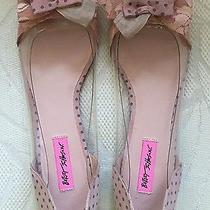 Betsey Johnson Daaisy Blush Multi Lace/suede Women's Ballet Flats Cute Bows 10  Photo