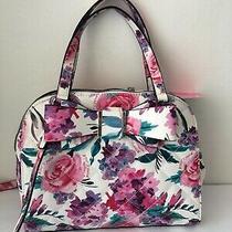 Betsey Johnson Dome Satchel Floral Pink White Medium Handbag Purse Roses Bow Nw Photo