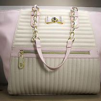 Betsey Johnson E/w Pink Blush & Bone White Channel Quilted Tote Purse Msrp 128 Photo