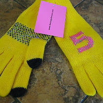 Betsey Johnson -E-Z Tap Knit Gloves-Hi / 5  Design--Yellow--Orig 36--New W/tags Photo