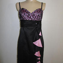 Betsey Johnson Evening Sexy Satin Lace Sequin Dress 10 Macy's Photo