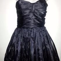 Betsey Johnson  Evening Strapless Striped Organza Teen Vogue Dress Size 10 Black Photo
