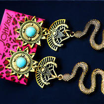 Betsey Johnson Fashion Beautiful Turquoise Sun Snake Vintage Jewelry Earrings Photo